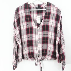 Express Plaid Shirt New Tie Front Top Small Women